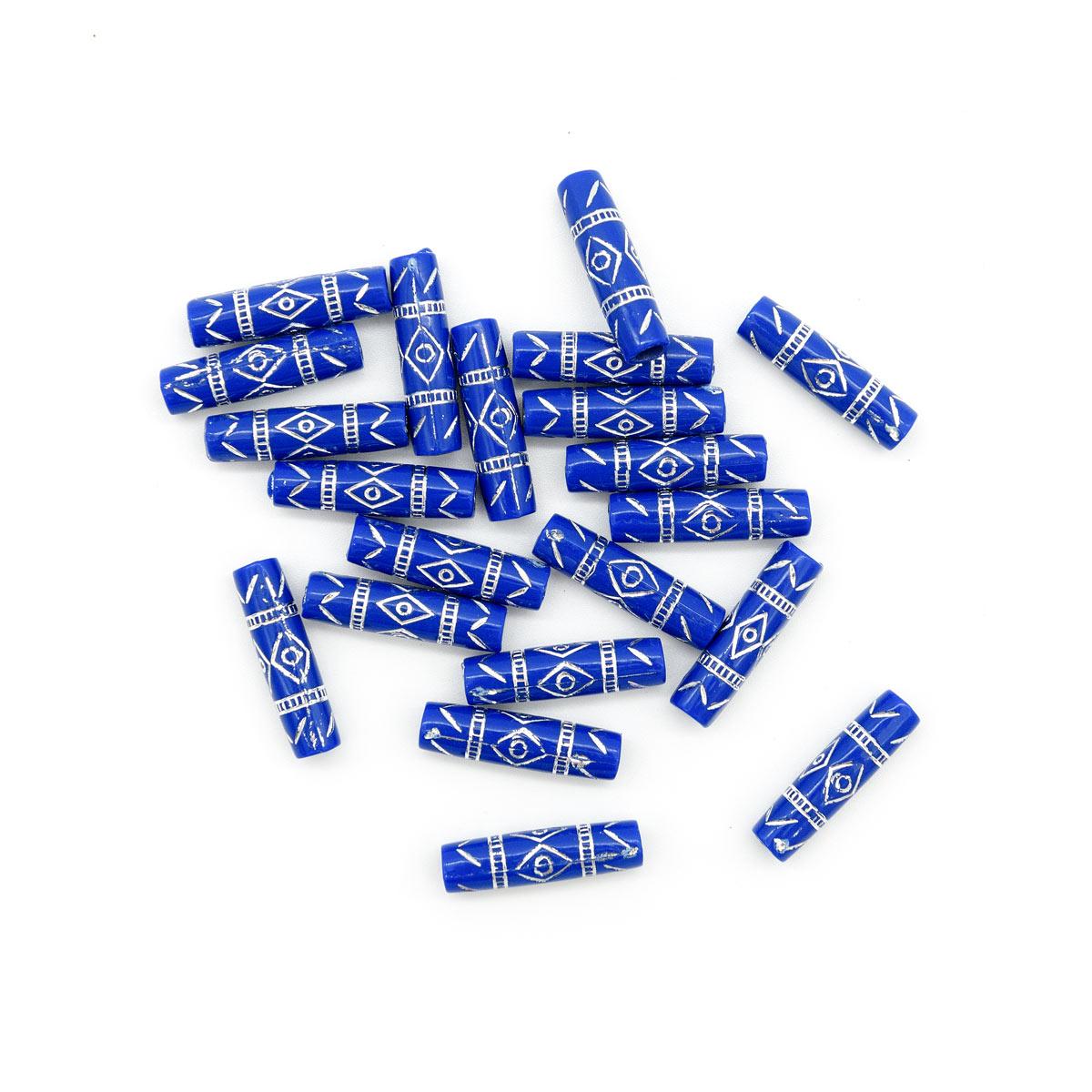 Бусины цилиндр пластик 25*7мм цвет 086 синий с серебром