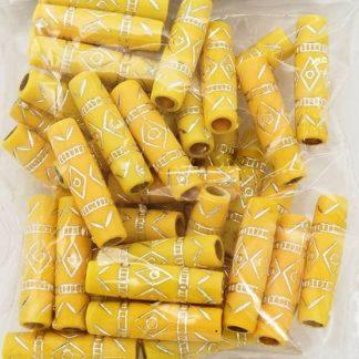 Бусины цилиндр пластик 25*7мм цвет 009 желтый с серебром