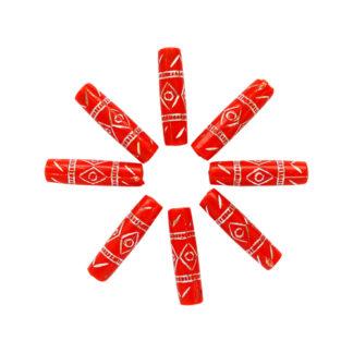 Бусины цилиндр пластик 25*7мм цвет 020 красный с серебром