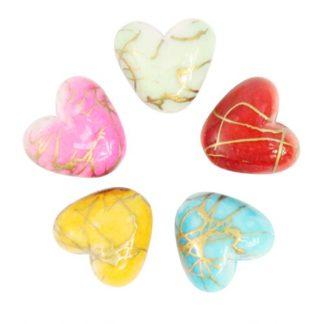 Бусины цветные камешки пластик 10 мм сердечки микс
