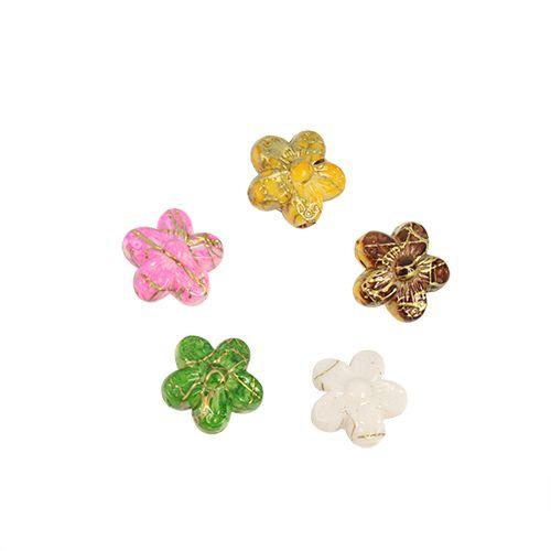 Бусины цветные камешки пластик 10 мм цветочки микс