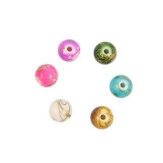 Бусины цветные камешки пластик 7 мм круглые микс