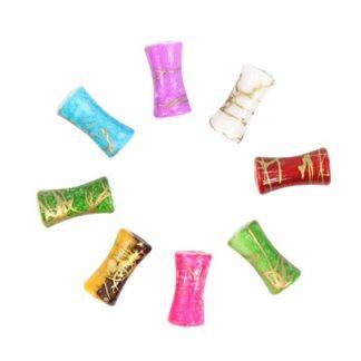Бусины цветные камешки пластик 12*4 мм цилиндр микс