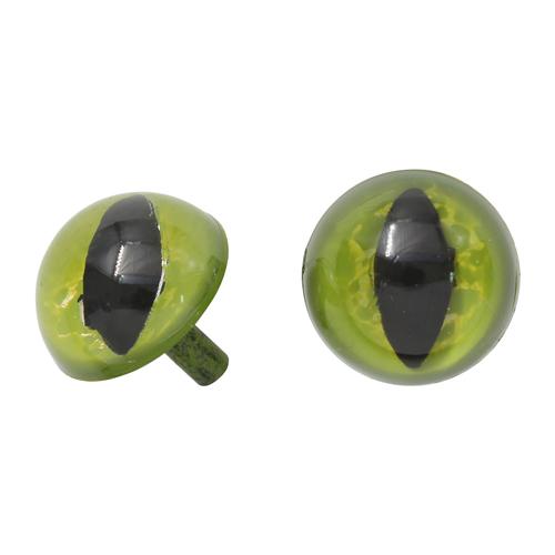 Глазки пластиковые без фиксатора кошачий 16 мм зеленый