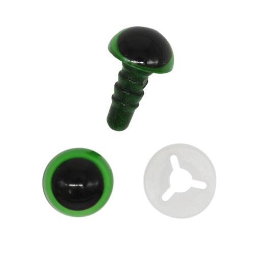 Глазки пластиковые с фиксатором 8 мм зеленый
