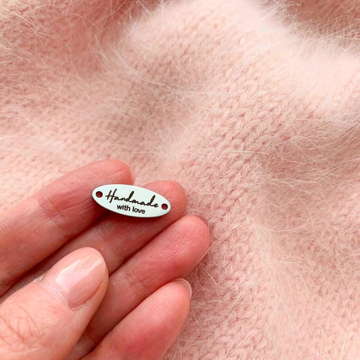Бирка металлическая овальная HAND MADE 20x8x1